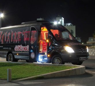 Black Benidorm Party Bus For Stag Party